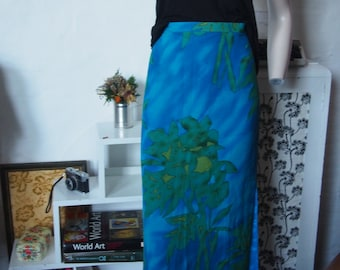 Size 12 blue-green long floral printed skirt (fully lined)