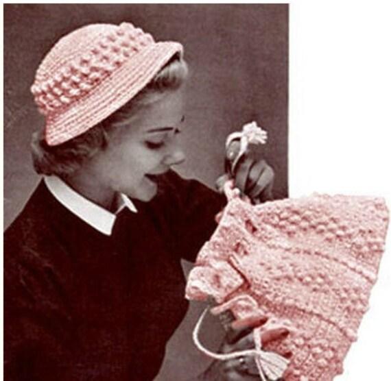 Patron pdf de tejido en crochet el sombrero y bolsa