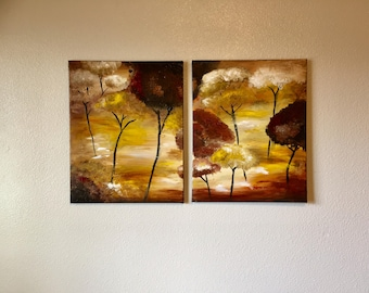 ORIGINAL -Sunset Tree Abstract Painting Diptych
