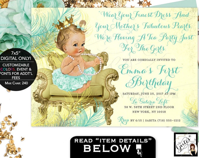 Mint and Gold First Birthday Invitation princess baby girl first birthday invitations, gold and mint green, digital file only! 7x5, Gvites.
