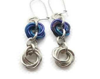 Sterling silver and niobium mobius earrings