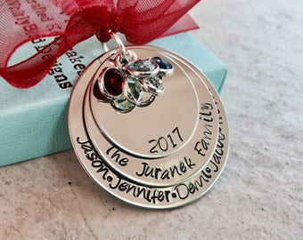 Personalized family christmas ornament with Swarovski birthstone crystals