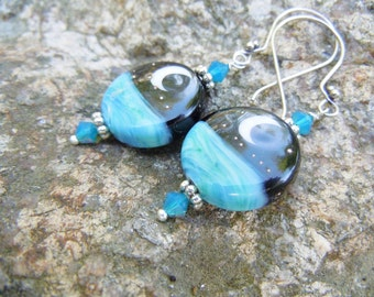 Lampwork Moon Earrings Sea Ocean Blue