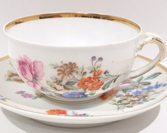 German Tea Cup and Saucer, Antique Tea Cups, Vintage Tea Party, Shabby Chic, Made in Germany, Floral Tea Cups, Antique Teacups