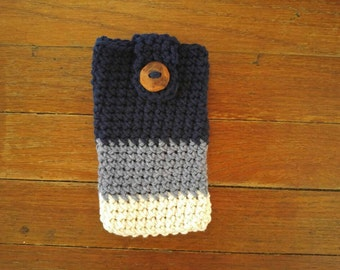 Crocheted Cell Phone Case- Phone Cozy- Phone Cover- Blue- Denim- Cotton- Yarn- Summer- Modern- Gift- Fashion- Phone Sleeve- Navy- Nautical