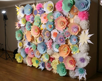 Paper flower wall etsy paper flower wall wedding backdrop paper flower backdrop large flower wall flower mightylinksfo Image collections