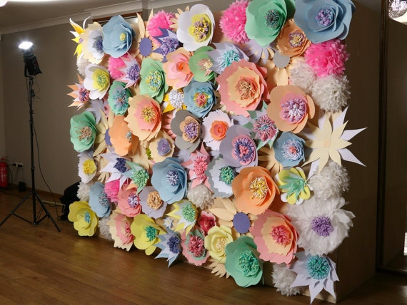 Paper flower wall wedding backdrop paper flower backdrop zoom mightylinksfo