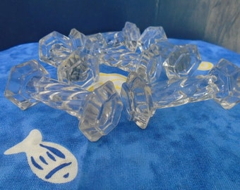 Twisted Crystal knife rests - 60's - set of 6