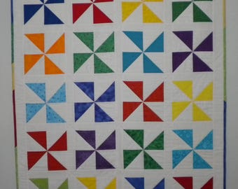 Handmade Pinwheels Baby Quilt, Patchwork Baby Quilt, Baby Shower Gift, Toddler Quilt, Baby Blanket, One of a Kind Quilt, Primary Colors