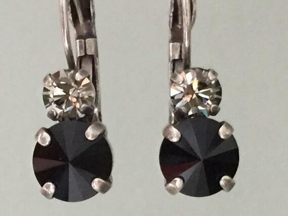 Black Diamond and Jet Swarovski Crystal Earrings, Antique Silver