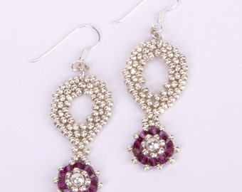 Sterling Silver Earrings with Fuchsia Swarovski Crystals and Silver Paisley Shaped Seed beads. Sparkling Silver and Fuchsia Earrings S73