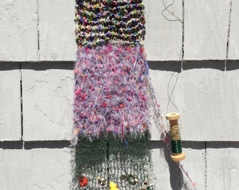 Arrowdress (for the Devi of Flowers) hand knit sculptural wall hanging