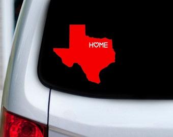Texas Home Vinyl Car Decal With Heart Over Your City - Houston, Dallas, Austin, San Antonio, Waco, Ft. Worth, El Paso