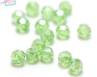 "20/60 ""round faceted"" 6 mm Green Crystal beads"