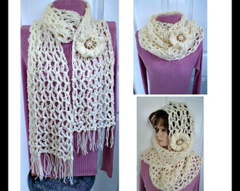 CROCHET PATTERN, Scarf and Flower- Wear as a long scarf, a cowl by wrapping around the neck, or a loose head wrap, #1069
