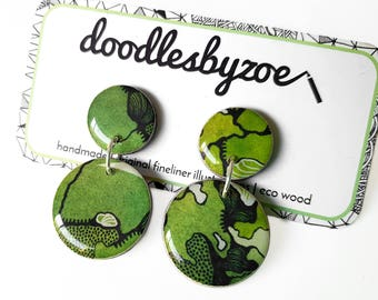 "Double circle drops – ""Greenery"" (wearable art, statement earrings, illustration)"