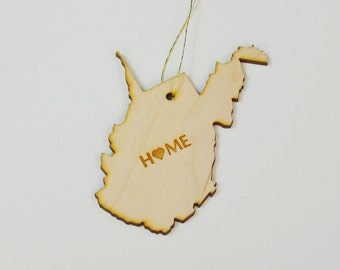 Natural Wood HOME West Virginia State Ornament