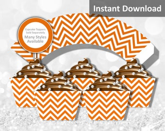 Orange Chevron Cupcake Wrapper Instant Download, Party Decorations