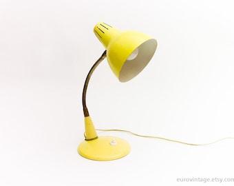 Vintage Schwanenhals-Lampe / blass gelbe Lampe / Tischlampe 70er Jahre