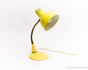 Vintage Gooseneck Lamp / Pale Yellow Lamp / Desk Lamp 70s