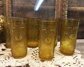 Vintage American Concord Glass/Listing For One/Amber Glass/Brockway Glass Co/16 Available