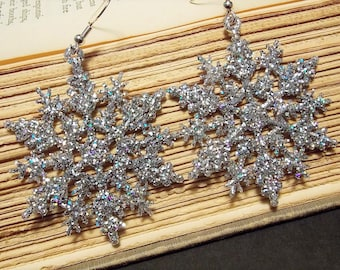 Sparkly Silver Snowflake Earrings