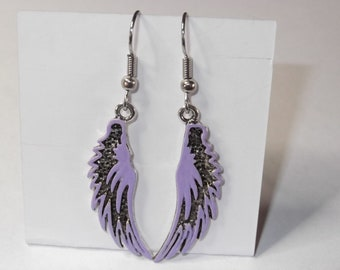 On Technicolor Angels' Wings Earrings - Custom Colors Available
