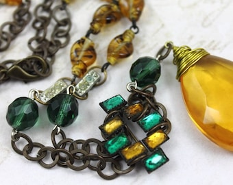Vintage Assemblage Y Necklace featuring Antique Amber Wire Wrapped Prism - Victorian Pin - Art Glass Amber Beads - by Boutique Bijou