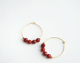 Carnelian Hoop Earrings, Carnelian Earrings, Red Earrings, Gemstone Earrings