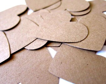 "Set of 40 - 1 1/2"" inches wide - KRAFT - Medium Hearts - Hand Punched Blank Cardstock - Die Cut Gift Hang Tags"