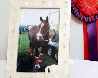 Pearlised Equestrian Photo Frame