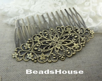 20%off 2pcs - High Quality Antique Bronze Plated  Filigree Hair Comb With 14 pins,Nicket Free