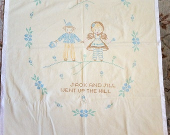 REDUCED Vintage Baby Blanket / Jack and Jill Embroidered Baby Crib Blanket Hand Sewn Soft Pale Yellow Corduroy New Baby Nursery Decor