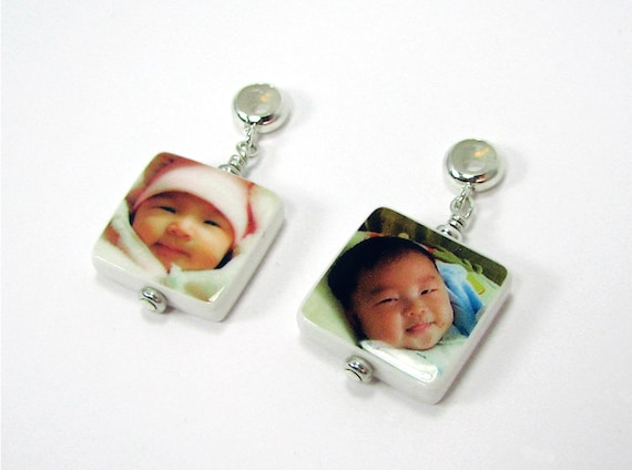 2 Square Photo Charms - X-tra Small with Round Bail - Designed to fit on the Name Brand Bracelets - C6x2a