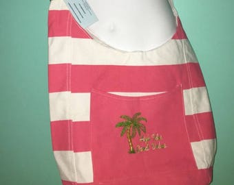 Monogrammed Embroidered Canvas Bucket Bag