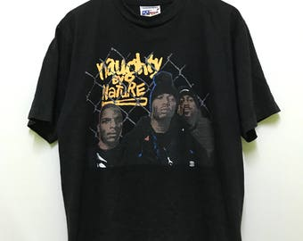 vintage 90s 1993 Naughty by Nature 19 naughty III american hip hop group rapper big image / line up image promo t-shirts