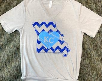 KC Royal Blue shirt.Kc Shirt.Kc Baseball.Kansas City Tee.Kc Heart.Missouri Chevron Baseball Love shirt.KCMO shirt.Kansas City shirt.Kc shirt