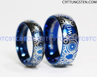 BLUE Doctor Who His 8mm Tungsten and Hers 4mm 925 Sterling