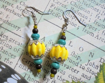 Yellow, Turquoise, Purple and Chartreuse Earrings (2572)