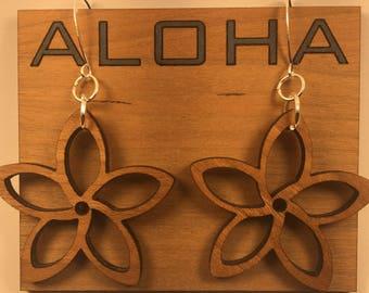 Custom Designed Artisan Made Aloha Hawaiian Flower Plumeria Floral Earrings - Perfect Mother's Day Gift