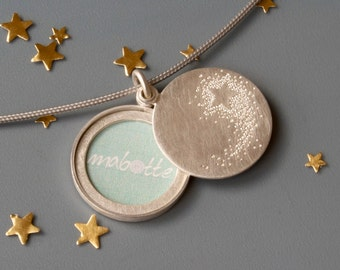 Picture - Locket , Sterling silver, shooting star, handmade locket for one picture, Shooting star locket