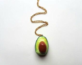 Handmade sliced avocado Necklace with stone.