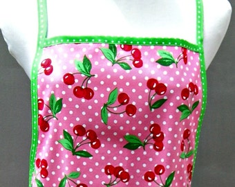 Ladies Full Figure Apron With Pink & White Dots and Red Cherries