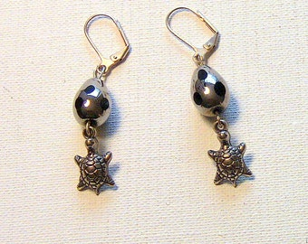 Gift For Her, Earrings, Turtle Earrings, Metallic Glass Bead and Turtle Charm Earrings,
