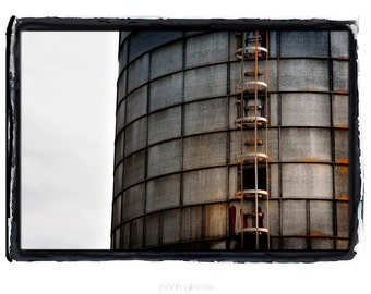 Old Industrial Tower Fine Art Print by Jonah Gilmore Grey, Metal, Rust and Sky
