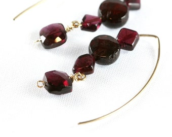 January Birthstone Earrings Garnet, Gold Filled Almond Ear Wires