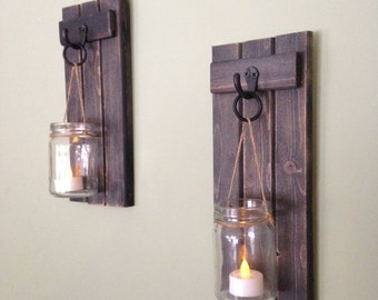 "Wooden Candle Holder, Rustic Wall Sconce, Mason Jar Candle Holder, Wooden Wall Sconce, Wall Sconce, WHEATHERED BLACK, 5""x12"" Set of 2"