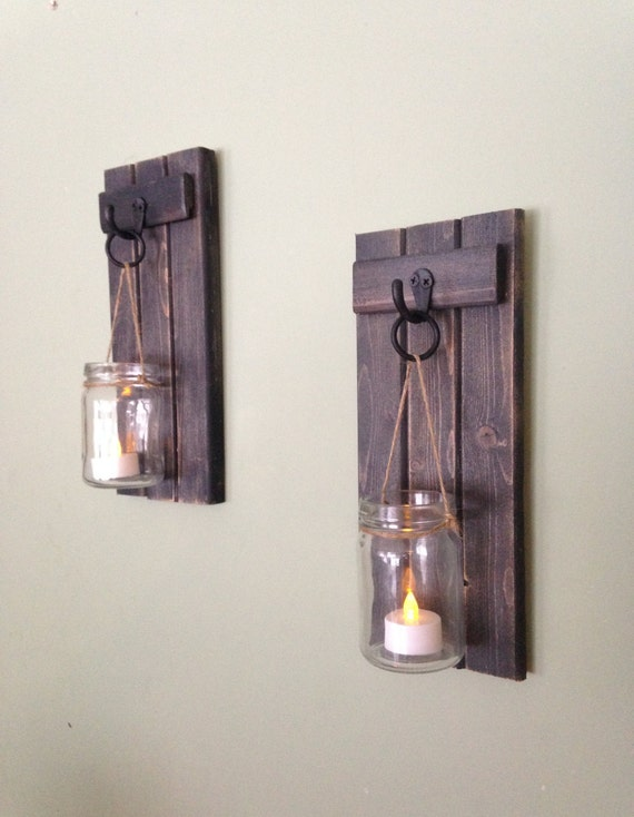 Wooden candle holder rustic wall sconce mason jar candle mozeypictures Images