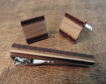 Hand Crafted Maple and Ply Blend Wooden Cufflinks with optional Tie Clip - Wedding - Office - Groom - Pretty - Anniversary - Gift - Mens