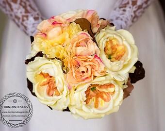 Yellow Garden Rose, Coral Ranunculus and Dark Brown Vintage Leaves (Premium)